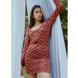 NWT Urban Outfitters Ruched Mesh Mini Dress